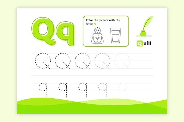 Feuille de calcul lettre q avec plume