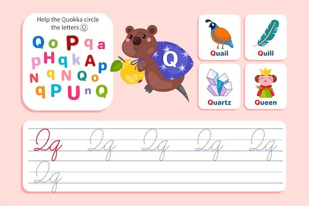 Feuille de calcul lettre q avec quokka