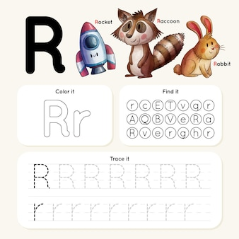Feuille de calcul lettre r avec animaux et fusée