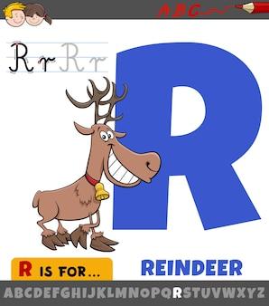 Feuille de calcul lettre r avec personnage animal renne de dessin animé