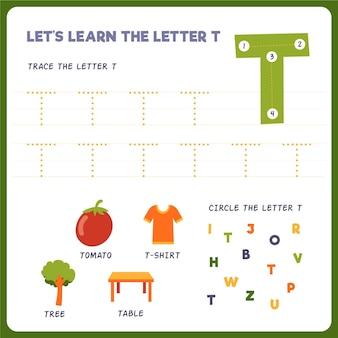 Feuille de calcul lettre t pour les enfants