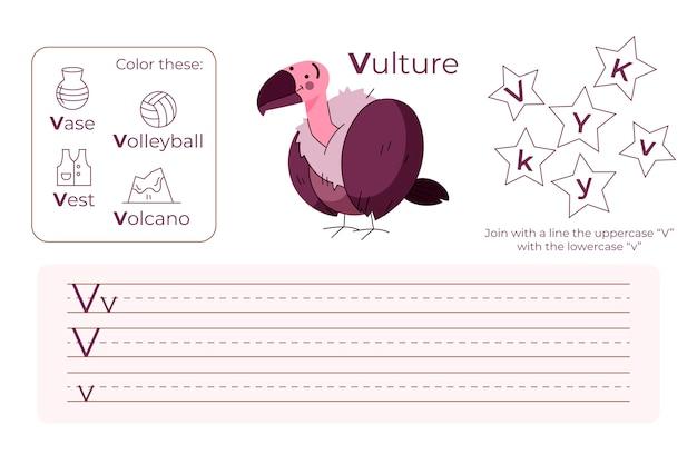 Feuille de calcul lettre v avec vautour