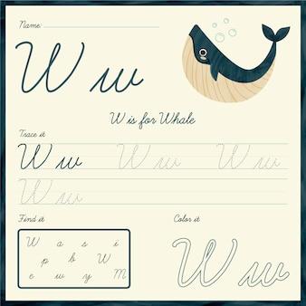 Feuille De Calcul Lettre W Avec Baleine Vecteur Premium