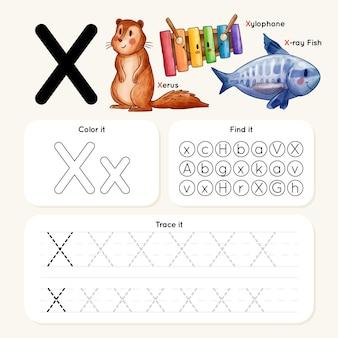 Feuille de calcul lettre x avec des animaux et des objets