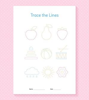 Feuille de calcul des lignes de trace. traçage des mains pour les enfants. jeux d'écriture préscolaire. format papier a4.
