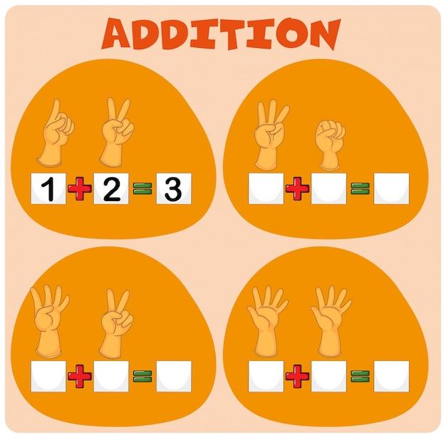 Feuille de calcul mathématique avec ajout de doigts