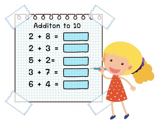 Feuille de calcul mathématique pour l'addition à dix