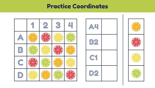 Feuille de calcul mathématique pour les enfants d'âge préscolaire, préscolaire et scolaire. pratiquez les coordonnées.