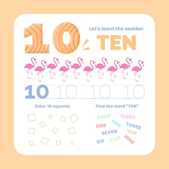 Feuille De Calcul Numéro 10 Avec Des Flamants Roses Vecteur gratuit
