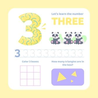 Feuille de calcul numéro 3 avec des animaux