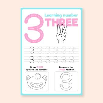 Feuille de calcul numéro 3 avec la main