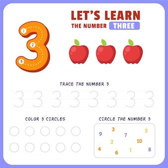Feuille De Calcul Numéro 3 Vecteur gratuit