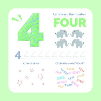 Feuille de calcul numéro 4 avec des animaux