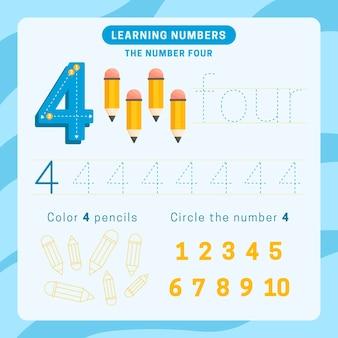 Feuille de calcul numéro 4 avec des crayons