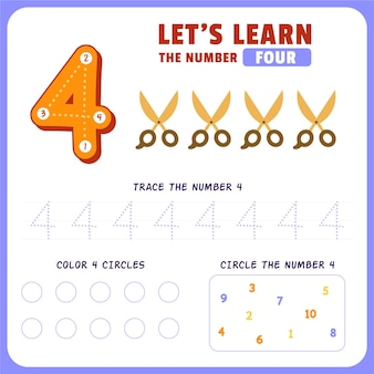 Feuille De Calcul Numéro 4 Vecteur gratuit