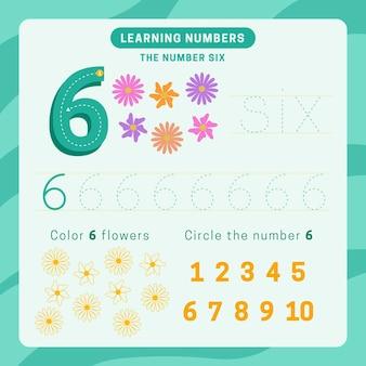 Feuille de calcul numéro 6 avec des fleurs