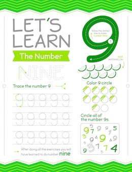 Feuille De Calcul Numéro 9 Apprenons Vecteur gratuit