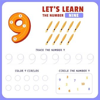Feuille De Calcul Numéro 9 Vecteur gratuit