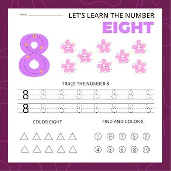Feuille de calcul numéro huit pour les enfants