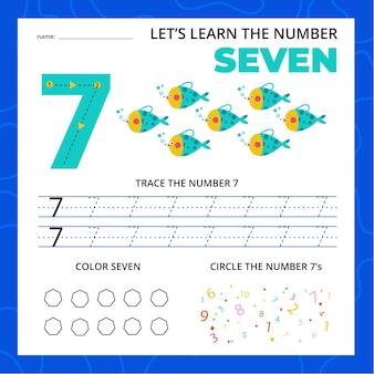 Feuille de calcul numéro sept pour les enfants