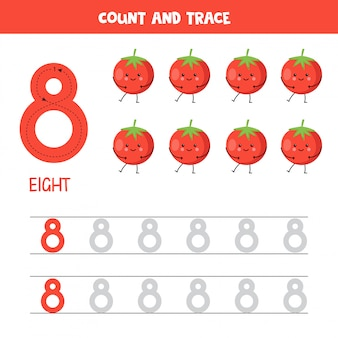 Feuille de calcul des numéros de suivi. numéro huit avec des tomates rouges kawaii mignonnes.