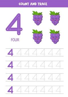 Feuille de calcul pour apprendre les nombres avec des raisins mignons. numéro quatre.