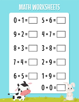 Feuille de calcul de soustraction mathématique pour la maternelle