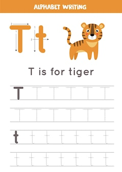 Feuille de calcul de traçage alphabet avec illustration animale