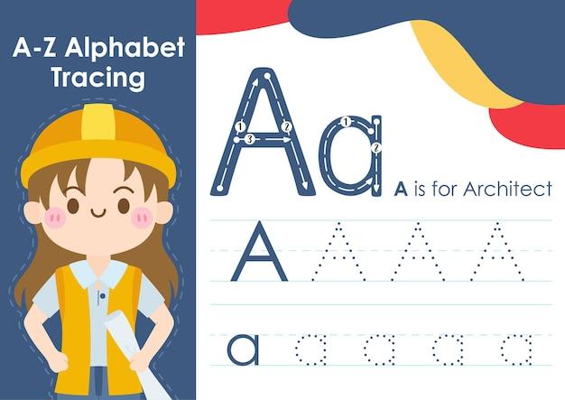 Feuille de calcul de traçage alphabet avec illustration de l'occupation de l'emploi en tant qu'architecte