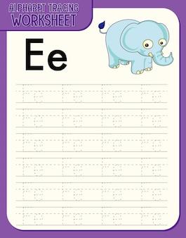Feuille de calcul de traçage d'alphabet avec la lettre e et e