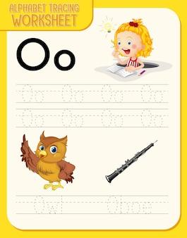 Feuille de calcul de traçage de l'alphabet avec la lettre o et o