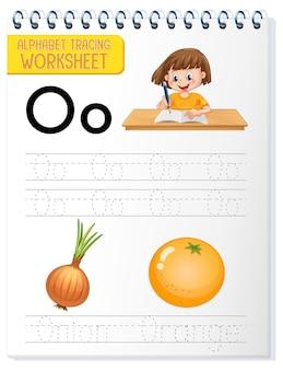 Feuille de calcul de traçage alphabet avec la lettre o et o