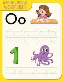 Feuille de calcul de traçage d'alphabet avec la lettre o et o