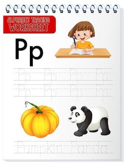 Feuille de calcul de traçage de l'alphabet avec la lettre p et p