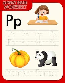 Feuille De Calcul De Traçage De L'alphabet Avec La Lettre P Et P Vecteur gratuit