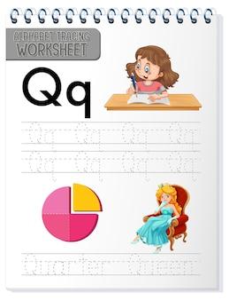 Feuille de calcul de traçage alphabet avec la lettre q et q