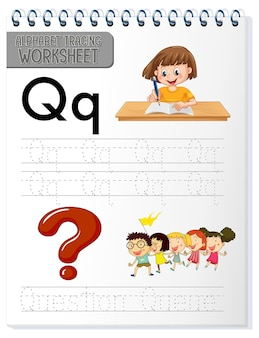 Feuille de calcul de traçage de l'alphabet avec la lettre q et q