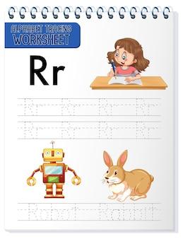 Feuille de calcul de traçage alphabet avec la lettre r et r