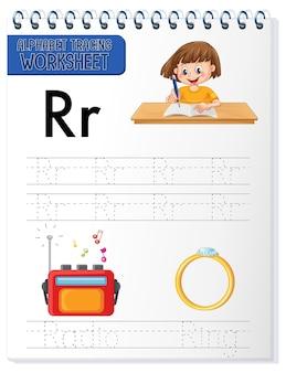 Feuille de calcul de traçage de l'alphabet avec la lettre r et r
