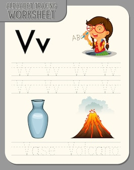 Feuille de calcul de traçage alphabet avec la lettre v et v