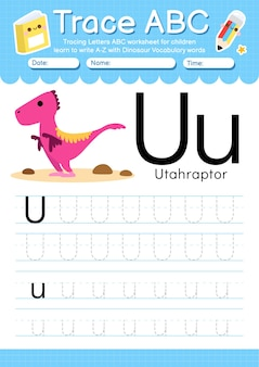 Feuille de calcul de traçage de l'alphabet avec la lettre de vocabulaire de dinosaure u