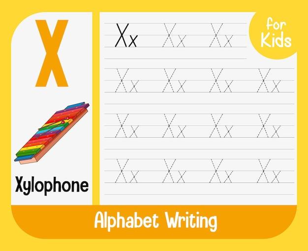 Feuille de calcul de traçage d'alphabet avec lettre et vocabulaire