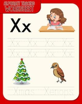 Feuille de calcul de traçage alphabet avec lettre x et x
