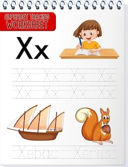 Feuille de calcul de traçage de l'alphabet avec la lettre x et x