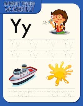 Feuille de calcul de traçage de l'alphabet avec la lettre y et y