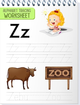 Feuille de calcul de traçage d'alphabet avec la lettre z et z