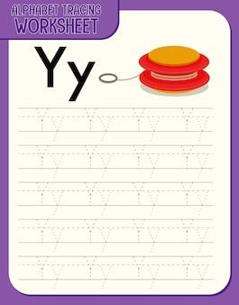 Feuille de calcul de traçage alphabet avec les lettres y et y