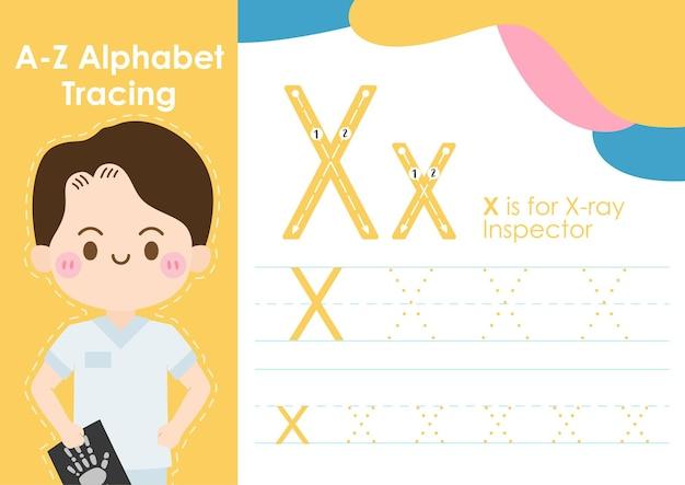 Feuille de calcul de traçage alphabet avec profession