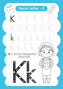 Feuille de calcul de traçage de l'alphabet avec le vocabulaire de l'occupation par l'enseignant de la maternelle de la lettre k