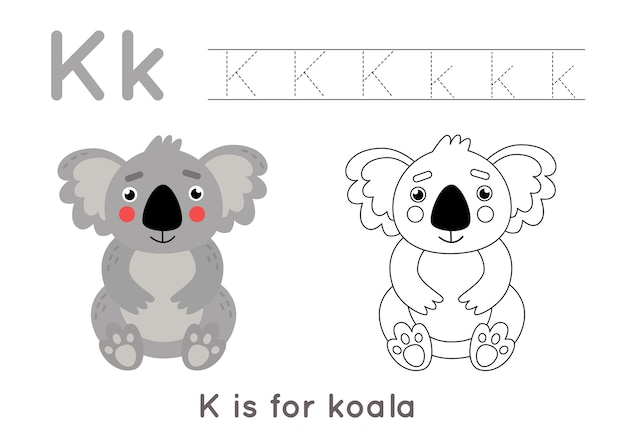 Feuille de calcul de traçage et de coloration de l'alphabet. pages d'écriture az. traçage de la lettre k en majuscules et minuscules avec illustration de koala de dessin animé. exercice d'écriture pour les enfants. feuille de calcul imprimable.